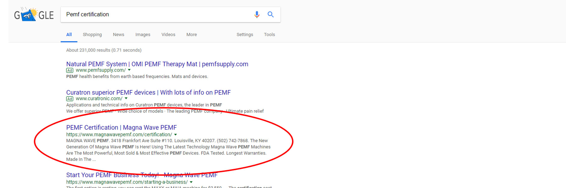 Crosby Interactive Search Engine Optimization SEO - Google Example PEMF certification