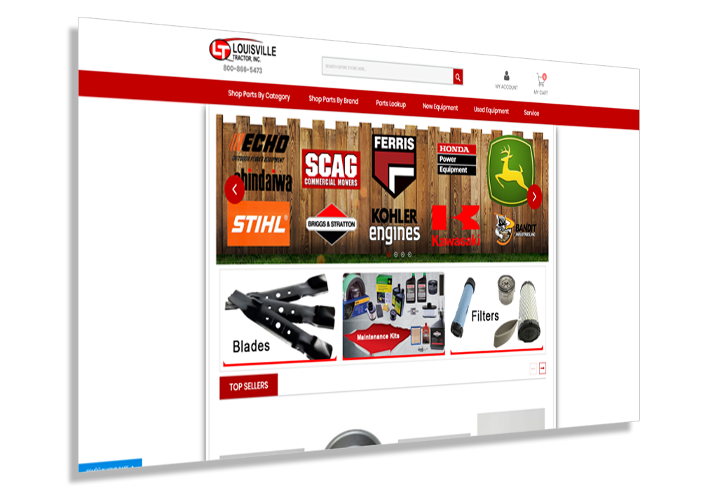 Crosby Interactive Magento Louisville Web Design - Louisville Tractor Website Example