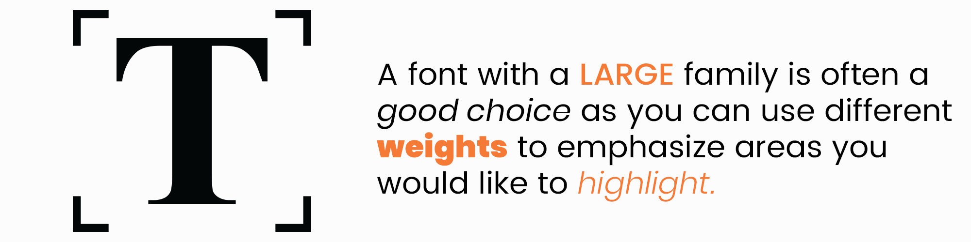 A font with a large family is often a good choice as you can use different weights to emphasize areas you would like to highlight.