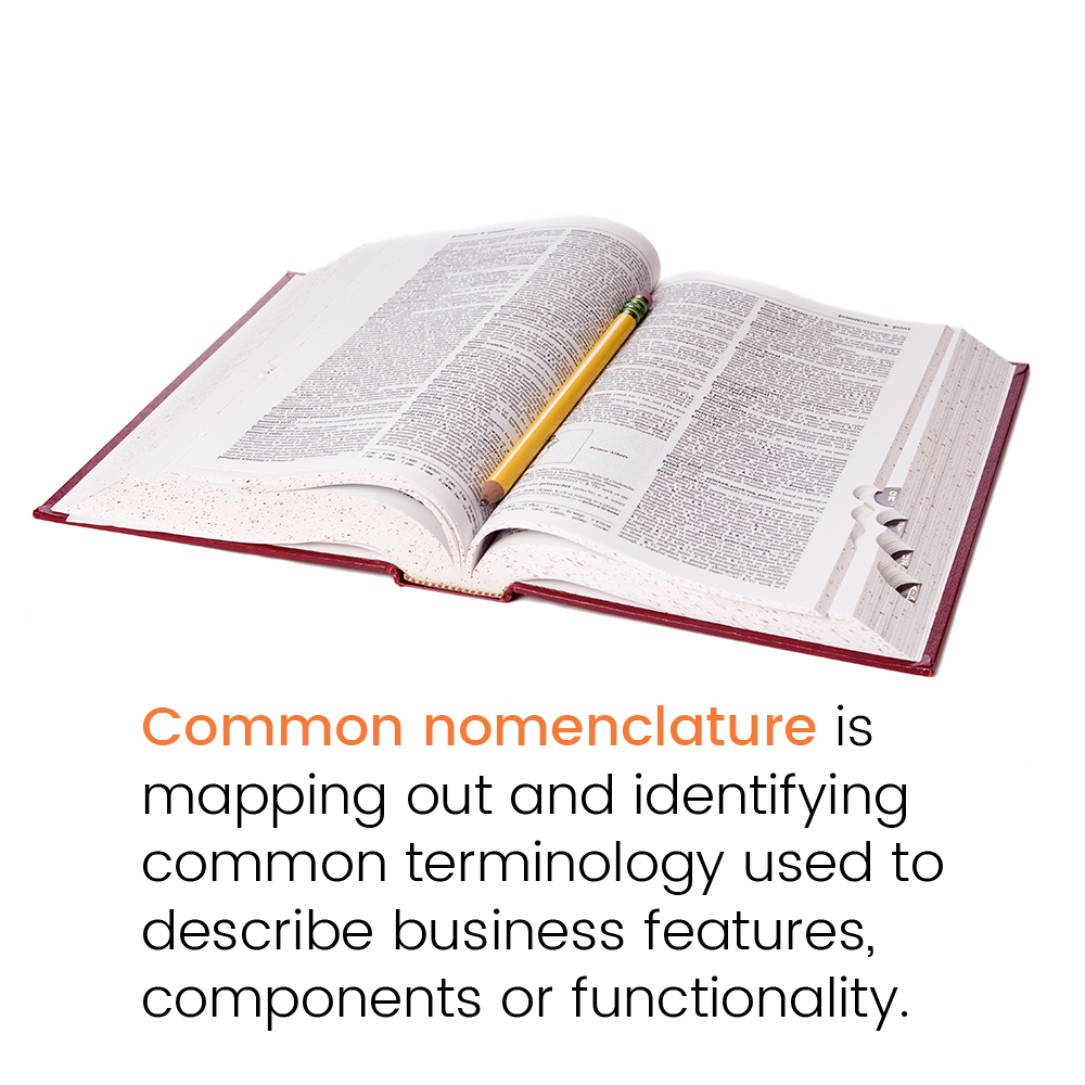 Common nomenclature is mapping out and identifying common terminology used to describe business features, components or functionality.