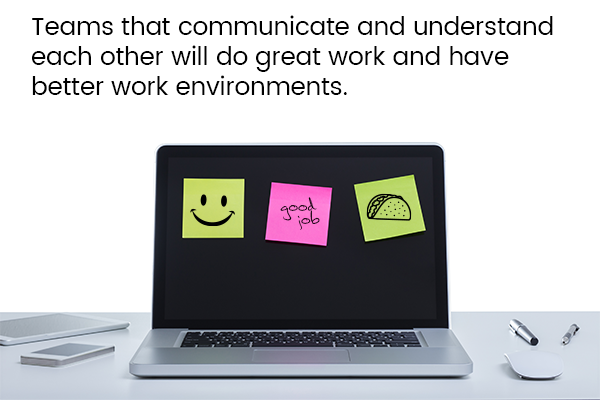 Teams that communicate and understand each other will do great work and have better work environments.