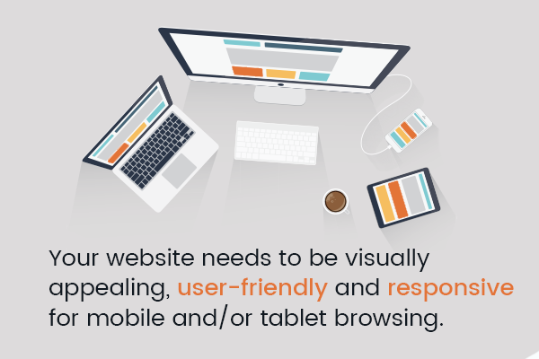 Your website needs to be visually appealing, user-friendly and responsive for mobile and/or tablet browsing.